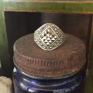 Marcasite and sterling ring.